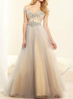 New-Off-Shoulder-Evening-Dress-Beaded-Tulle-Party-Formal-Prom-Gowns-Custom-Size