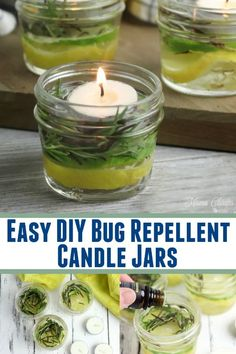 These Easy DIY Bug Repellent Candle Jars look beautiful on your summer table & really help to keep the biting bugs away with essential oil, citrus, rosemary Bug Repellent Candles, Diy Mosquito Repellent, Diy Candles, Diy Candle Ideas, Outdoor Candles, Homemade Candles, Candle Wax, Scented Candles, Mosquitos