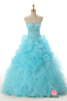 Custom blue formal ballgown party dress with beading
