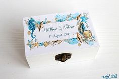 Your place to buy and sell all things handmade Wedding Ring Box, Wedding Boxes, Ring Bearer Box, Jewelry Box, Unique Jewelry, Personalised Box, Engraved Rings, Decoupage, Decorative Boxes