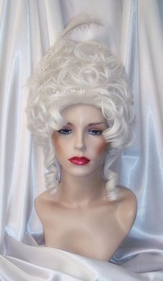 Marie Antoinette Wig Marie Antoinette Wig and Hair Accessories Silver White Rococo Style Wig Baroque Style Wig Era Wig Marie Antoinette, 18th Century Wigs, Ringlet Curls, Rococo Fashion, Rococo Style, Wig Making, Doll Hair, Tiaras And Crowns, Synthetic Hair