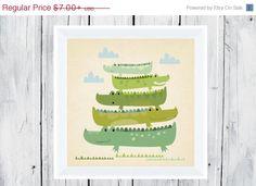 July4thSale Alligator Nursery  - Stacking Alligators - Nursery Decor- on Etsy, $6.30