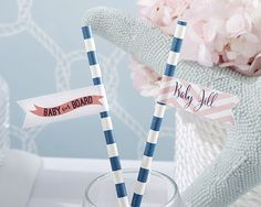 Personalized Party Straw Flags - Nautical Baby Shower -Kate Aspen-All hands are on deck for the baby on board, so you need something easy and versatile to decorate your upcoming baby shower.Kate Aspen's nautical-themed party straw flags are available Baby Shower Drinks, Baby Shower Favors, Shower Party, Baby Shower Parties, Baby Boy Shower, Baby Shower Decorations, Baby Showers, Wedding Favors Unlimited, Unique Wedding Favors