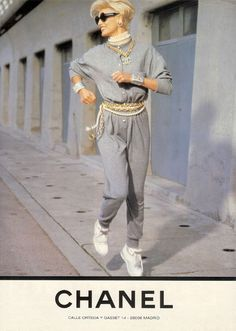 Throwback to Linda Evangelista jogging in a Chanel tracksuit