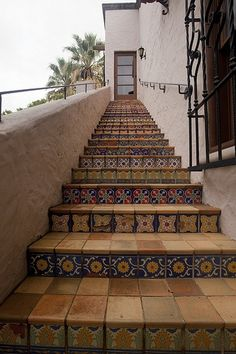 Spanish Tile stairs - spanish colonial revival