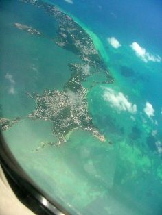 Aerial view of Bermuda from an airplane
