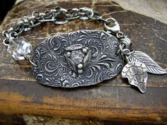 Diana Frey - PMC Bracelet - .999 fine silver clay bracelet with large cz, HIlltribe silver charms and sterling silver chain