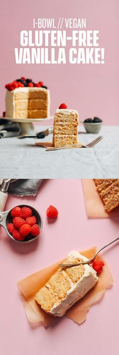 1-Bowl Vegan Gluten-Free Vanilla Cake displayed on a serving platter and topped with fresh raspberries and blackberries