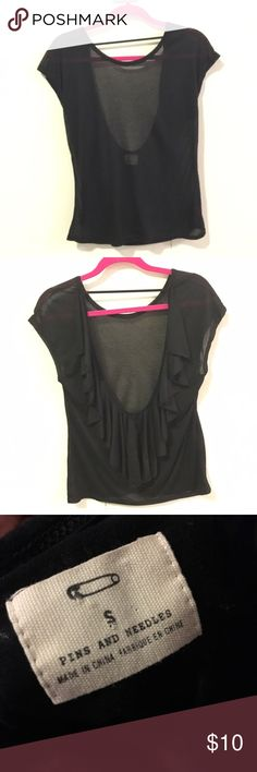 Black top with open back Open back with ruffles, will ship same day, clean Urban Outfitters Tops Blouses