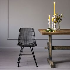 Rattan Dining Chair In Black | Desk & Dining Chairs | Graham & Green