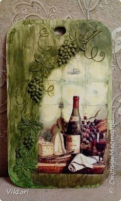 Decoupage Wood, Decoupage Vintage, Wine Bottle Crafts, Bottle Art, Tole Painting, Painting On Wood, Cardboard Art, Clay Art, Altered Art