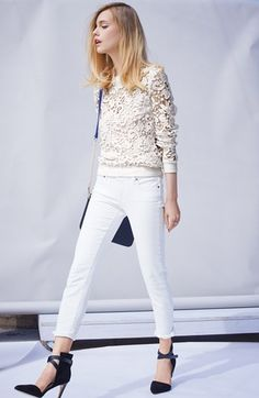 Chelsea28 Lace Pullover & Paige Denim Skinny Jeans  available at #Nordstrom