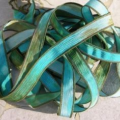 CORAL REEF Hand Dyed Silk Ribbons Watercolor Turquoise Brown Green Blue, Silk Ties for Jewelry and Silk Wraps by Jamnglass on Etsy https://www.etsy.com/listing/61521683/coral-reef-hand-dyed-silk-ribbons