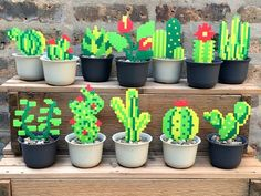 THE DEETS: Diese Auflistung ist für einige handgemachte Sukkulenten und Pflanzen im Pixelmodus … THE DEETS: This listing is for some handmade succulents and plants in pixel mode! Each plant is created with plastic fuse beads that melt together when heated Perler Bead Designs, Perler Bead Templates, Diy Perler Beads, Perler Bead Art, Perler Bead Disney, Pearler Beads, Motifs Perler, Perler Patterns, Quilt Patterns