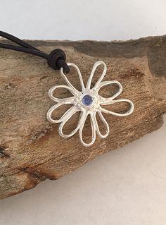 Hand Drawn Silver Blue Topaz Hippie Flower Necklace | Silver and Blue Gemstone Bohemian Flower Pendant | December Birthstone Flower Necklace