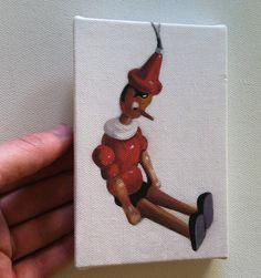 A wooden boy / Tiny canvas print par tushtush sur Etsy, $20.00