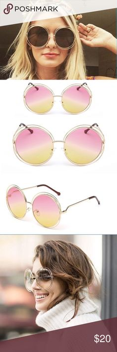 Vintage Style Large Round Sunglasses- Pink/Yellow SO PERFECT FOR SUMMER! These sunglasses are the perfect addition to make all your summer outfits the most epic that they can be. Penny Lane will have nothing on you. Double gold frame around large round lenses. Gold/yellow/pink color. fennec Accessories Sunglasses