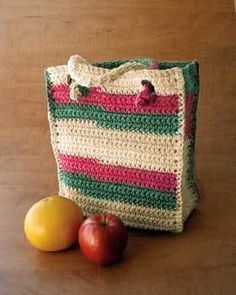 Crochet a handy rectangular bag with easy knotted handles for daily errands. The stripes in this bag are created by self-striping yarn instead of having to switch yarn balls.