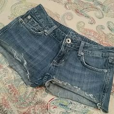 """Miss Me cutoffs Cute Miss Me cutoffs.  Rear patch label is pretty much gone and missing a couple rhinestones on back pocket but still super cute!  Price reflects condition.  13 1/2"""" across the top. Miss Me Shorts Jean Shorts"""