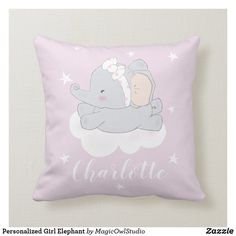 Shop Personalized Girl Elephant Throw Pillow created by MagicOwlStudio. Elephant Nursery, Baby Elephant, Elephant Throw Pillow, Throw Pillows, Cute Baby Girl, Cute Babies, Baby Cartoon, Custom Pillows, House Colors