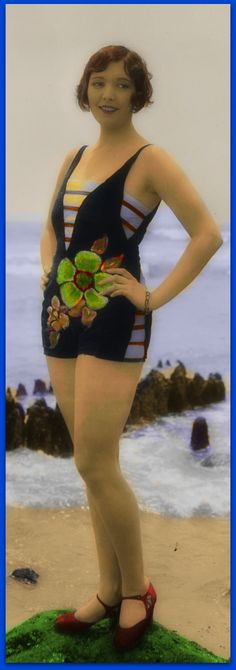 1920s Exceedingly Risque' Bathing Suit..........Mack Sennett Beauty, B/W Photo Colourised by Pearse.