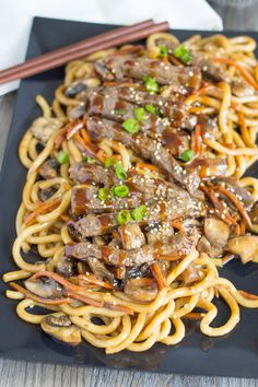 Beef Teriyaki Udon - Salu Salo Recipes , In this beef teriyaki udon dish, the slices of beef are stir-fried after being marinated. Then, carrots and mushrooms are added along with the udon no. Japanese Noodle Dish, Japanese Dishes, Japanese Udon, Japanese Recipes, Fried Udon, Fried Beef, Asian Recipes, Beef Recipes, Cooking Recipes