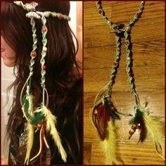 hemp headband with feathers