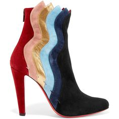 Christian Louboutin Wavy 100 suede ankle boots (5.145 RON) ❤ liked on Polyvore featuring shoes, boots, ankle booties, suede ankle booties, ankle boots, high heel bootie, suede booties and suede bootie
