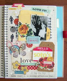 """SMASH book @Tessa Buys has created another wonderful page in her SMASH book and again uses SRM Stickers to embellish.  Love the """"love"""" definition at the bottom.  That SRM!  www.srmpress.com"""