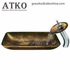 Vigo Rectangular Atlantis Glass Vessel Sink w/Matching Faucet and Pop-up Drain Glass Basin, Glass Vessel Sinks, Glass Vanity, Lavatory Sink, Sink Faucets, Waterfall Faucet, Copper Glass, Beautiful Hands, Sunglasses Case