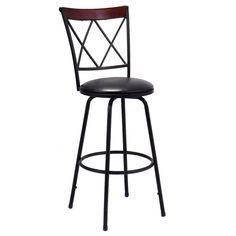 Swivel Bar Stool PU Leather Steel Counter Height Modern Bistro Pub Chair