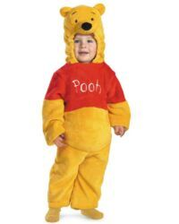 """Winnie the Pooh Costume Pooh Bear Deluxe Plush Toddler Costume Oh Bother! Winnie the Pooh Bear Costume includes:A soft, plush, yellow jumpsuit with a red top (Reads: """"Pooh"""") and an attached character hood Disney Winnie The Pooh, Winnie The Pooh Halloween, Winnie The Pooh Costume, Winnie The Pooh Plush, Baby Disney, Disney Plush, Disney Fun, Toddler Halloween Costumes, Cute Costumes"""