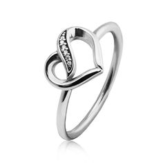 Ribbons of Love Silver Rings with Clear CZ 100% 925 Authentic Sterling Silver Fine Jewelry Free Shipping 13FLR107 #Affiliate