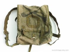 Vintage Military Green Canvas Backpack Rucksack Army Bag 70s