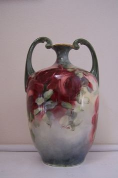 "Jean Pouyat French Antique Muscle Vase 'Glorious Deep Red Roses"" hand-painted 19th Century Art ware'"