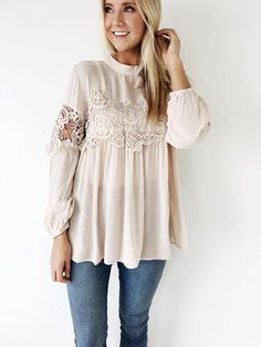 Cream High Neck Blouse Long Sleeve w/ Elastic Cuff + Lace Panel Lace Detailing on Front Keyhole in Back Flowing Fit