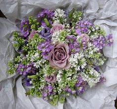Deborah's Country Style Wedding Flowers, Lilacs, pinks, whites and purples Lilac Wedding Flowers, Bridesmaid Flowers, Wedding Bouquets, Bridesmaids, Lisianthus Bouquet, Lilac Bouquet, Bouquet Flowers, Country Style Wedding, Special Flowers