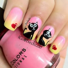 .@Brandy Bartosiewicz | Adding the cats to the gradient mani that i did earlier.. The color is a bit ... | Webstagram - the best Instagram viewer