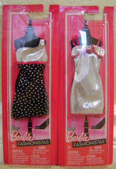 BARBIE FASHIONISTAS FASHION CLOTHES SHIMMERY SILVER LOT OF 2 *NEW*