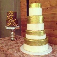 Gold wedding cakes #polkadotscupcakefactory by iva