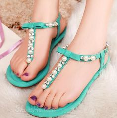 297bef43d53b Elegant Rhinestone   Beading Flat Sandals
