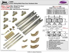 """Picture of 100MD 24"""" 3-Door Sliding Tri-pass Hardware Set"""