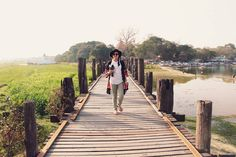 I was at famous U Bein bridge. I loved my kimono from H&M so much. I was working so i had to wear pants but i actually wanted to wear it with shorts and my DocMart.