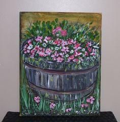 Acrylic on Canvas Bucket of Flowers