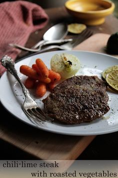 Chili-Lime Steak with Roasted Vegetables   www.diethood.com   Steak dinner for your #Valentine in 30 minutes   #recipe #dinner #steak #vegetables