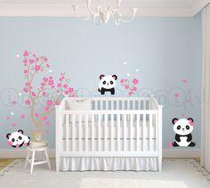 Los pandas y Sakura etiqueta de Panda Panda por InAnInstantArt, $78.00