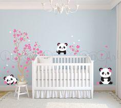 Pandas and Cherry Blossom Tree, Panda Decal, Panda Vinyl Wall Decal for Nursery, Kids, Childrens Room 029 on Etsy, $75.00