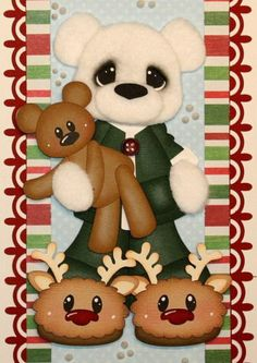 ELITE4U CRAFTECAFE JULIE tear bear border for scrapbook page album paper piecing