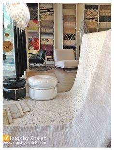 Showcasing WHITE & SILVER in our window this week! SUMMER RUG arrivals - new DESIGNS ... Jorpan Lace White & Avant Silver Moon  Rugs by Zhaleh - www.rugsbyzhaleh.com Shops at Merrick Park 358 San Lorenzo Ave. Suite 3210 Miami, FL 33146