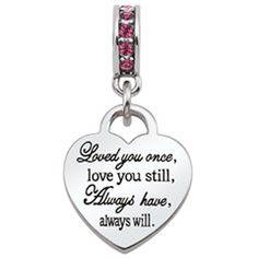 Persona® Sterling Silver Love Poem on Heart with Pink Crystals Dangle Bead